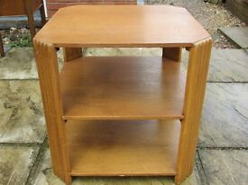 Vintage Square Light Oak Side Table with Two Shelves 19.5 inches x 19.5 inches