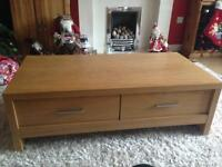 Next oak coffee table /television stand with drawers immaculate retail price £275