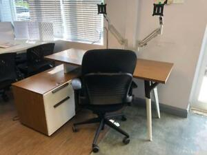 Teknion L-Shape Desk with Drop Down Credenza with Monitor Arms - $599.00