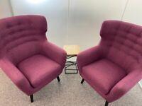 Kubrick Wing Back Classic Stylish Comfortable Armchair Button Plum Purple Colour