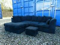 Dark Blue/Black Corner Sofa *Excellent Clean Condition*