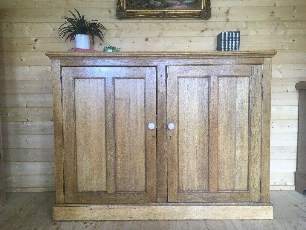 Large antique solid oak school cupboard cabinet linen cupboard ...