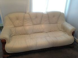 Faux Leather Sofa Set - Beige/Cream 3+2 Seater