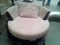 very nice 2 seat sofa and round swivel chair