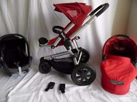 Quinny buzz 3 Red Travel System Includes: Pushchair,Carrycot, Black Maxi cosi cabriofix Car Seat