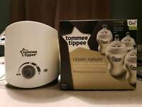 Tommee Tippee electric bottle warmer + 4 new bottles