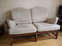 Ercol 3 piece York Minster suite + foot stool. 3 seat sofa, 2 seat sofa, 1 chair, 1 stool.