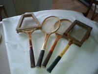 4 Vintage Tennis Rackets , 3 Squash Rackets. Two Cricket Bats
