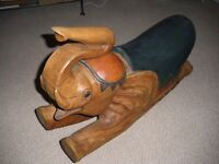 SOLID WOODEN LARGE ROCKING ELEPHANT - RARE ITEM