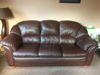 Italian brown leather sofa set 3seater plus 2 chairs