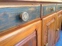 Distressed pine sideboard hand painted and waxed shabby chic vintage