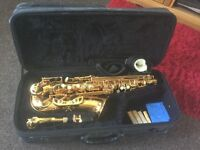 Odyssey saxophone and case.