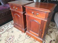 """2 Bedside cabinets,not antique,in reasonable condition.Approx 25""""tall,16""""square."""