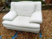 Large white leather armchair