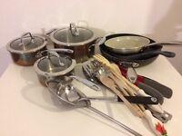 3 saucepans 3 frying pans & utensils