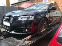 Used, Audi A3 2009 black edition s line breaking - black front end bonnet bumper headlights wing grill for sale  Small Heath, West Midlands