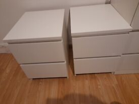 2 bed side units and 1 long chest of drawers