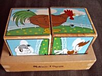 Melissa and Doug Farm Sound wooden Blocks animal noise picture puzzle motor skill