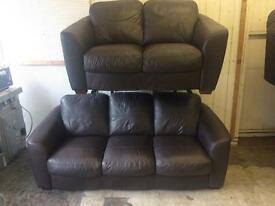 Dark brown leathear sofas
