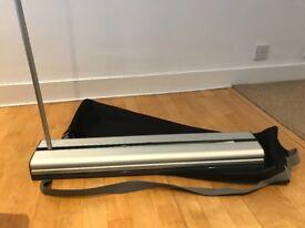 Plex sidewinder roller banner for signage/display
