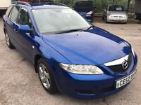 Mazda 6 TS2 Estate 2.0i, 2002/52 Reg, MOT 27th December, Full Service History, 5 Door Estate, Blue
