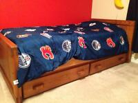 Solid wood single captain's bed