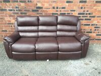 Three seater sofa in chocolate brown leather - Ikea - clean and classic