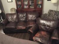 Free brown 3 seater leather sofa and armchair