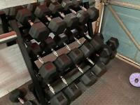 Brand new and boxed Hexi dumbells and storage rack £820