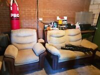 DFS RECLINER ARM CHAIR AND 2 SEATER SOFA. GOOD CONDITION.
