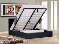 🌷💚🌷 MASSIVE STORAGE SPACE 🌷💚🌷 DOUBLE LEATHER STORAGE BED FRAME WITH ROYAL ORTHOPEDIC MATTRESS