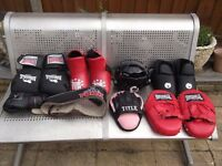 a selection of kick boxing equipment