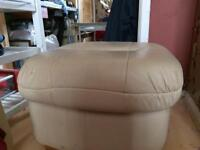 Cream leather footstool with storage