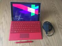 Microsoft Surface 3 red, with matching pen and keyboard 64 GB
