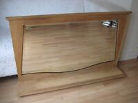 Stunning Large Art Deco Honey-Oak Bevelled Mirror with Shelf - Overmantle or Hall Mirror