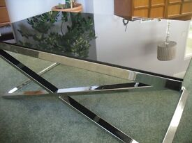 BLACK TEMPERED GLASS & POLISHED CHROME COFFEE TABLE