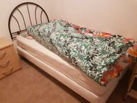 Single bed frame and headboard
