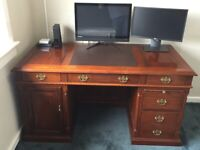 Solid wood partners desk and matching filing cabinet