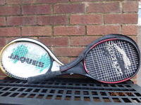 TWO TENNIS RACKETS c/w COVERS