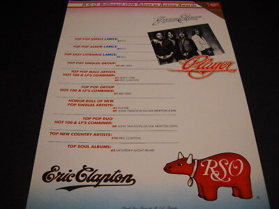RSO Records 1978 Promo Ad PLAYER Eric Clapton YVONNE ELLIMAN Bee Gees ANDY GIBB