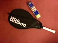 REDUCED ****ADULT FULL SIZE WILSON TENNIS RACKET AND BALLS