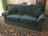 Two Seater Dark Green Draylon Sofa