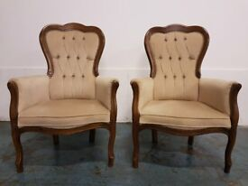 BUTTON BACK ARMCHAIR SET 2 x ARMCHAIRS / BEDROOM CHAIRS DELIVERY AVAILABLE