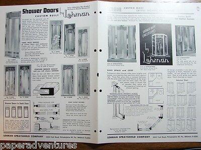 1954 LEHMAN Custom Etched Glass SHOWER Doors RETRO BATHROOM Deco Vintage (Etched Glass Shower Doors)