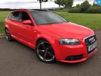 2007 (57) AUDI A3 1.8T S-LINE, AUTOMATIC, 2 TONE LEATHER INTERIOR, PAN ROOF, SPORTS BACK, F,S,H