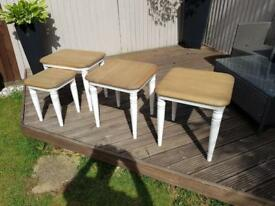 Solid oak side tables and nest of tables
