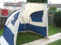 blue grey dome shape caravan porch awning 200w x 220d x 235-250h vgc