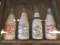 76 Vintage Old Milk Bottles for display or collectors