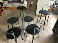 John Lewis dining table, 4 chairs and 2 bar chairs