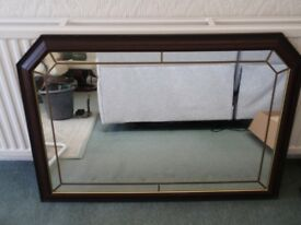 Large Leaded Mirror with Dark Wood Frame